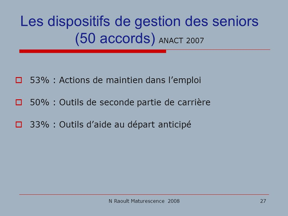 Les dispositifs de gestion des seniors (50 accords) ANACT 2007