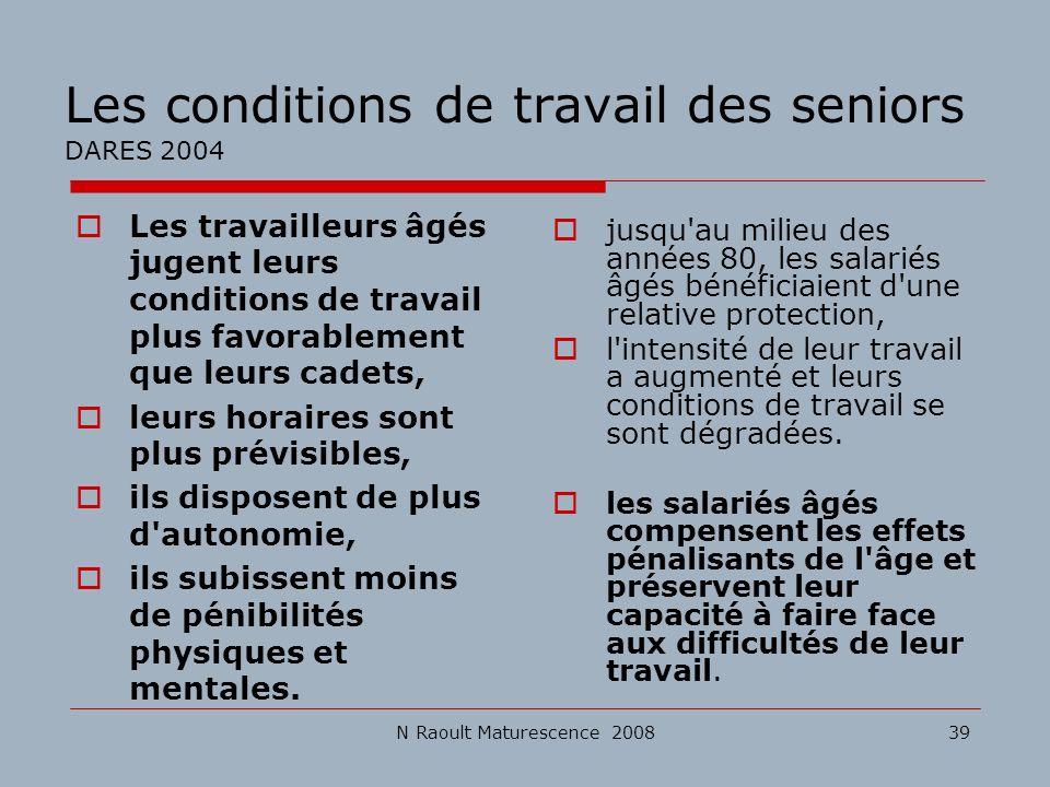 Les conditions de travail des seniors DARES 2004