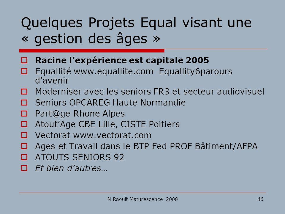 Quelques Projets Equal visant une « gestion des âges »