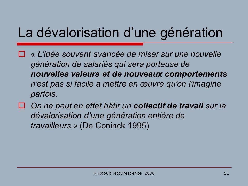 La dévalorisation d'une génération
