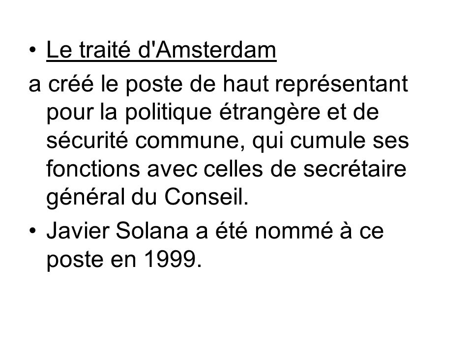 Le traité d Amsterdam