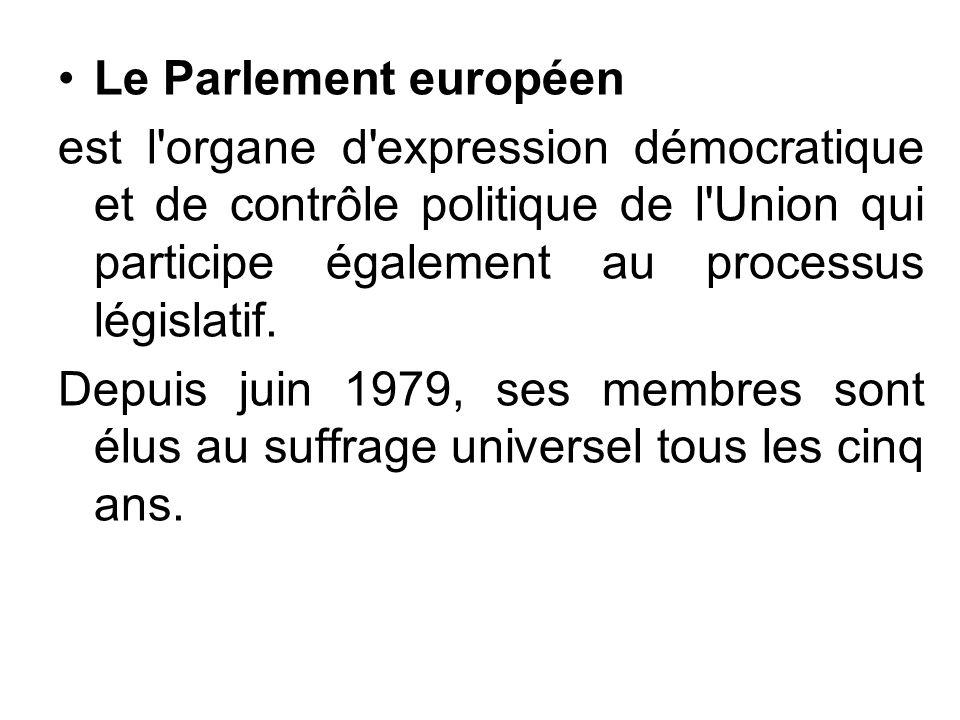 Le Parlement européen est l organe d expression démocratique et de contrôle politique de l Union qui participe également au processus législatif.