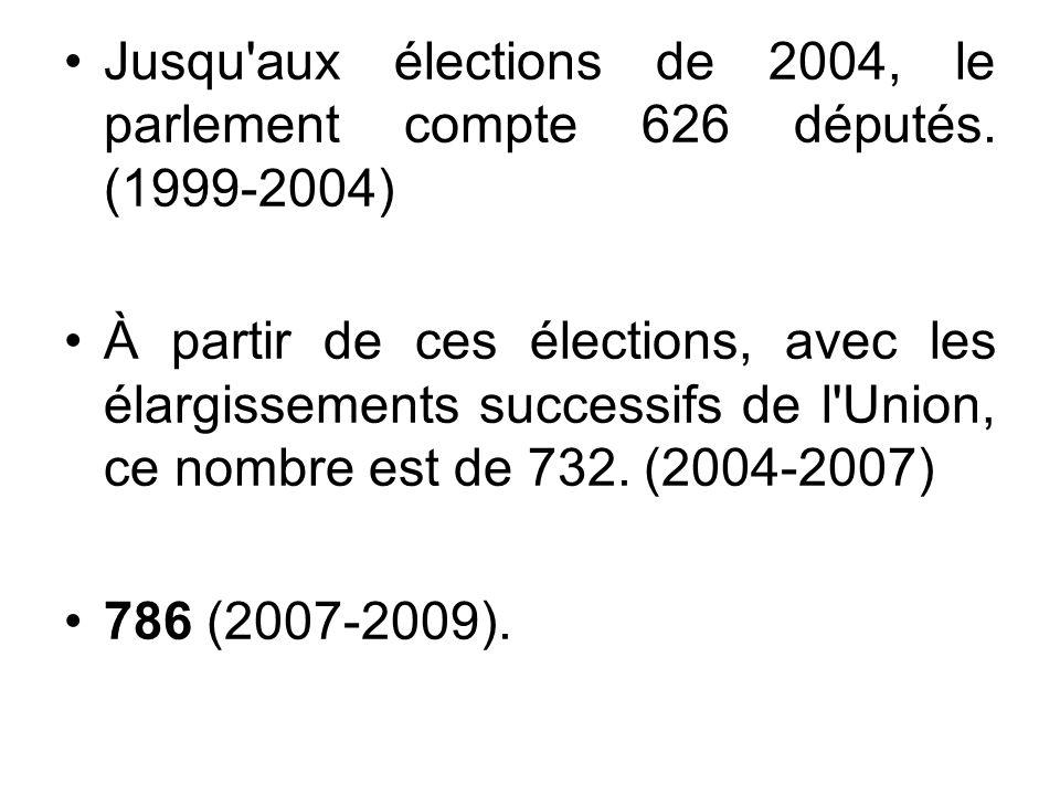 Jusqu aux élections de 2004, le parlement compte 626 députés