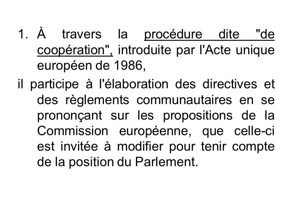 À travers la procédure dite de coopération , introduite par l Acte unique européen de 1986,