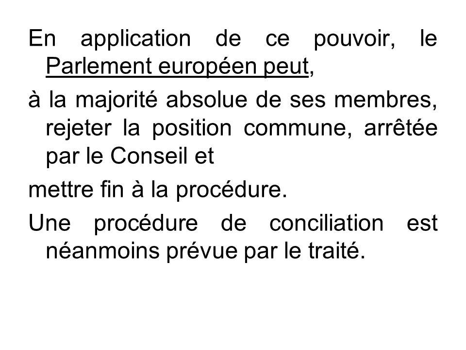 En application de ce pouvoir, le Parlement européen peut,