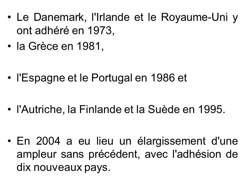 Le Danemark, l Irlande et le Royaume-Uni y ont adhéré en 1973,