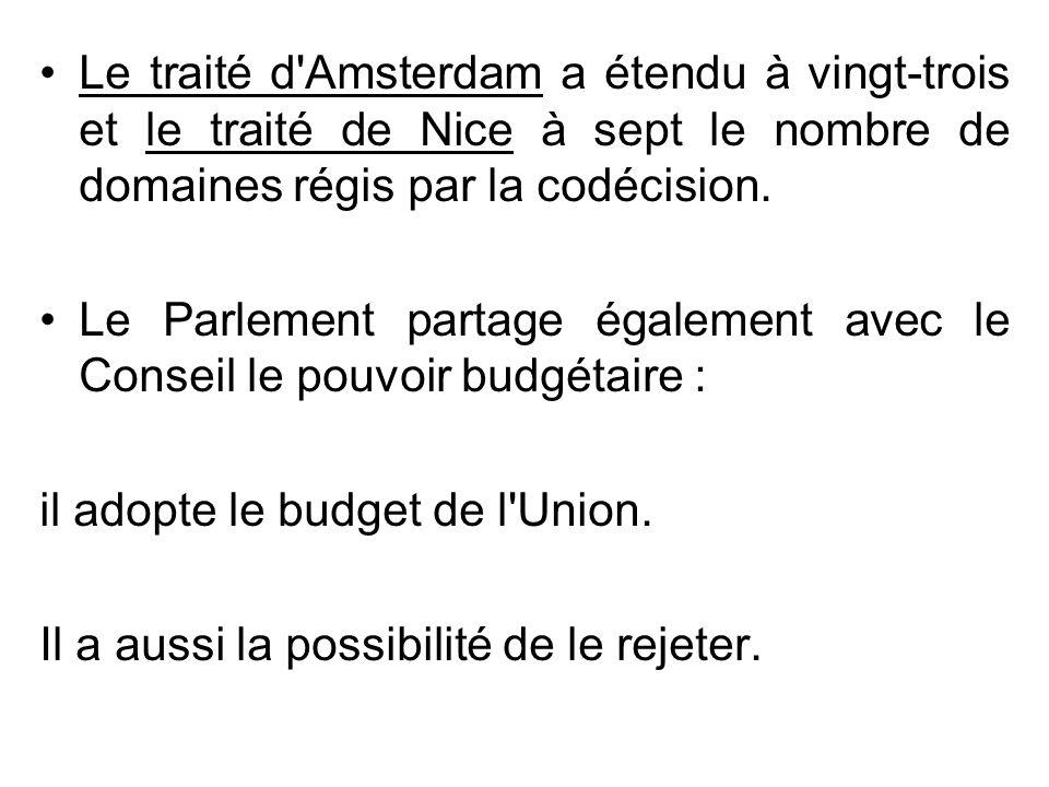 Le traité d Amsterdam a étendu à vingt-trois et le traité de Nice à sept le nombre de domaines régis par la codécision.