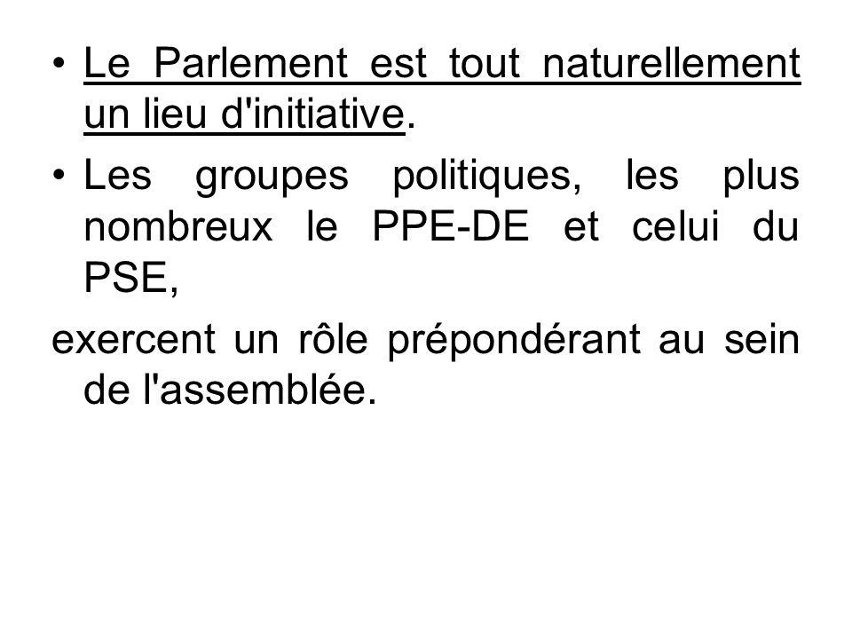 Le Parlement est tout naturellement un lieu d initiative.