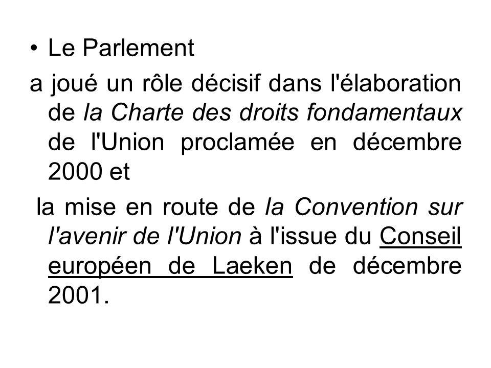 Le Parlement a joué un rôle décisif dans l élaboration de la Charte des droits fondamentaux de l Union proclamée en décembre 2000 et.
