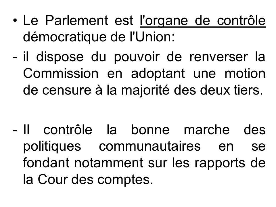Le Parlement est l organe de contrôle démocratique de l Union:
