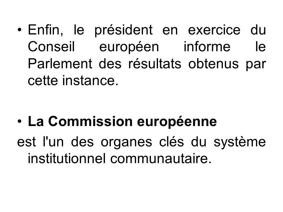 Enfin, le président en exercice du Conseil européen informe le Parlement des résultats obtenus par cette instance.