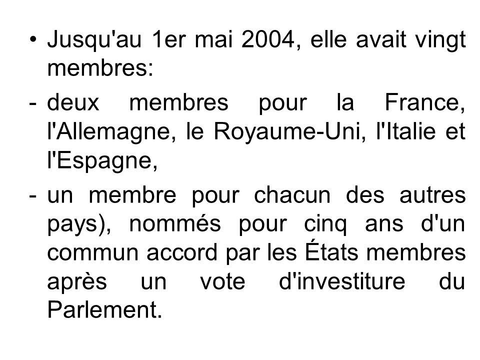 Jusqu au 1er mai 2004, elle avait vingt membres: