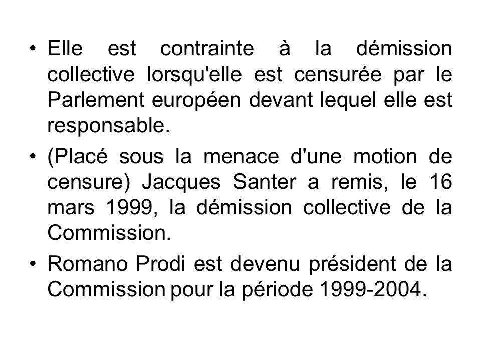 Elle est contrainte à la démission collective lorsqu elle est censurée par le Parlement européen devant lequel elle est responsable.