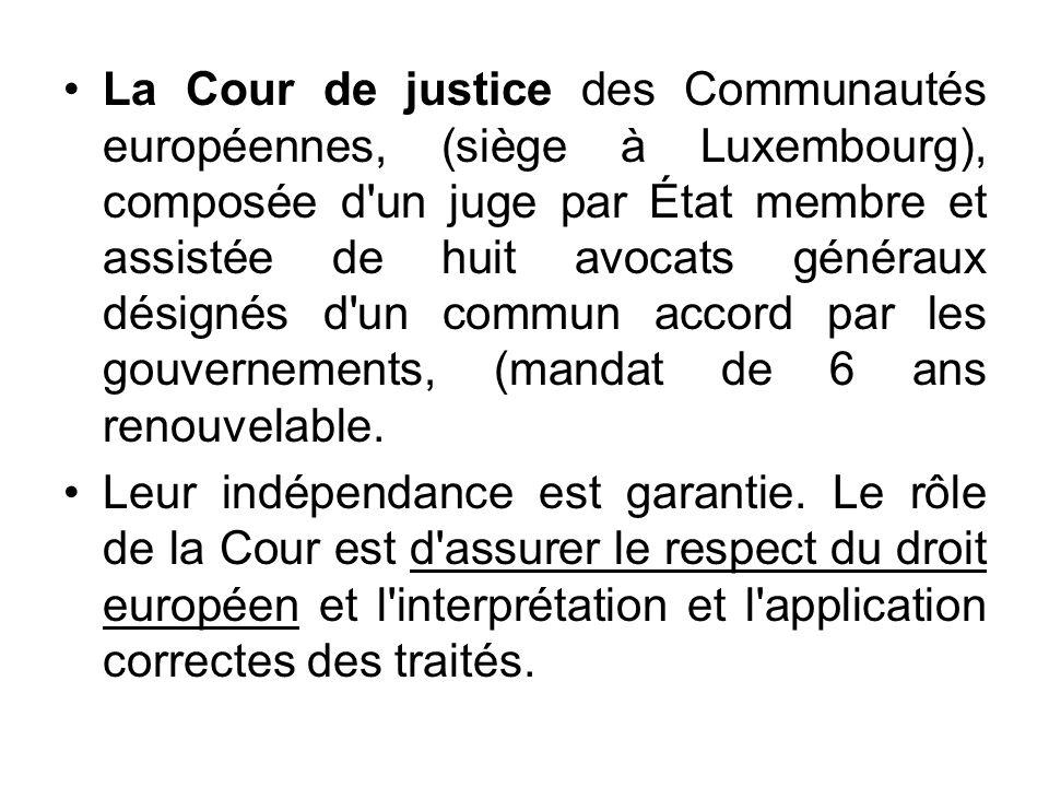 La Cour de justice des Communautés européennes, (siège à Luxembourg), composée d un juge par État membre et assistée de huit avocats généraux désignés d un commun accord par les gouvernements, (mandat de 6 ans renouvelable.