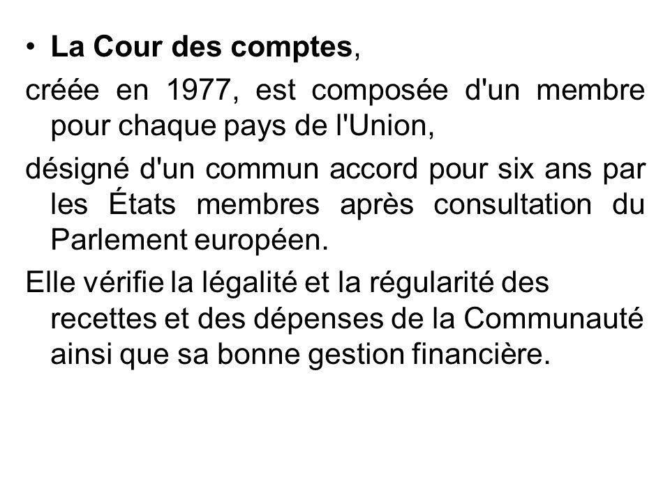 La Cour des comptes, créée en 1977, est composée d un membre pour chaque pays de l Union,