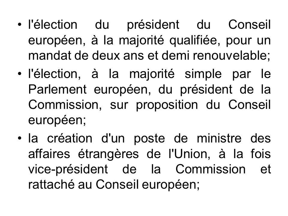l élection du président du Conseil européen, à la majorité qualifiée, pour un mandat de deux ans et demi renouvelable;