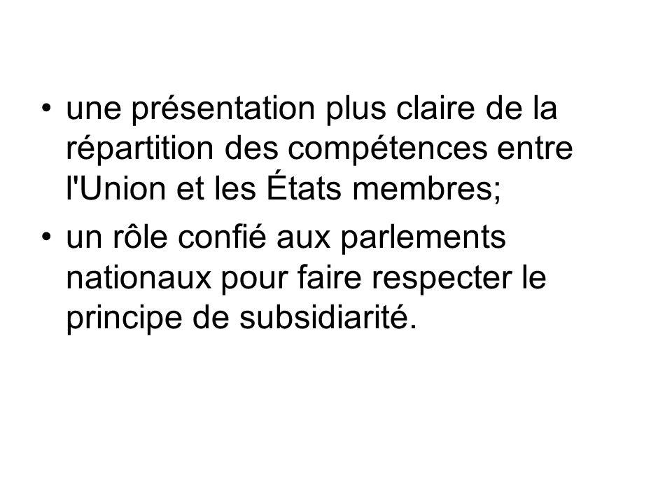 une présentation plus claire de la répartition des compétences entre l Union et les États membres;