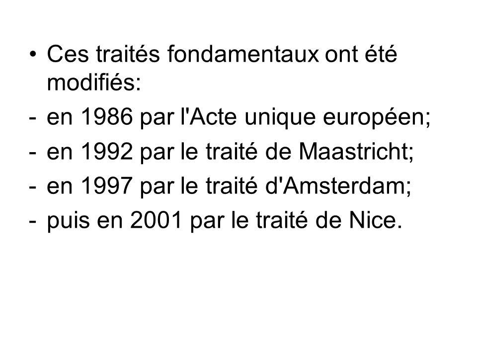 Ces traités fondamentaux ont été modifiés: