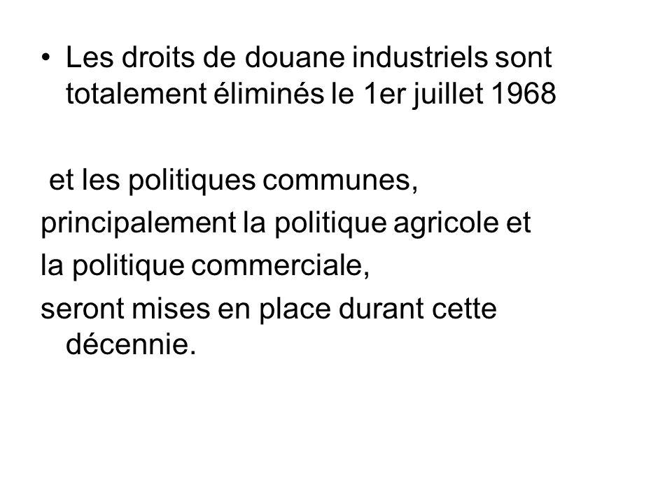 Les droits de douane industriels sont totalement éliminés le 1er juillet 1968