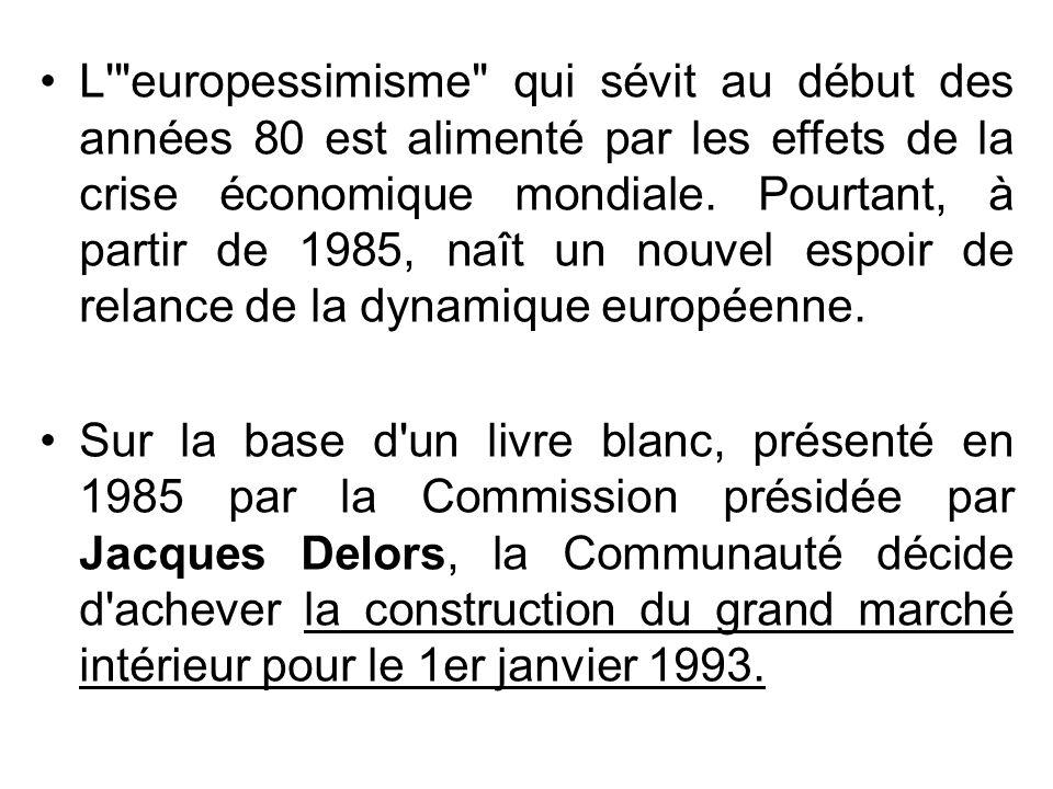 L europessimisme qui sévit au début des années 80 est alimenté par les effets de la crise économique mondiale. Pourtant, à partir de 1985, naît un nouvel espoir de relance de la dynamique européenne.