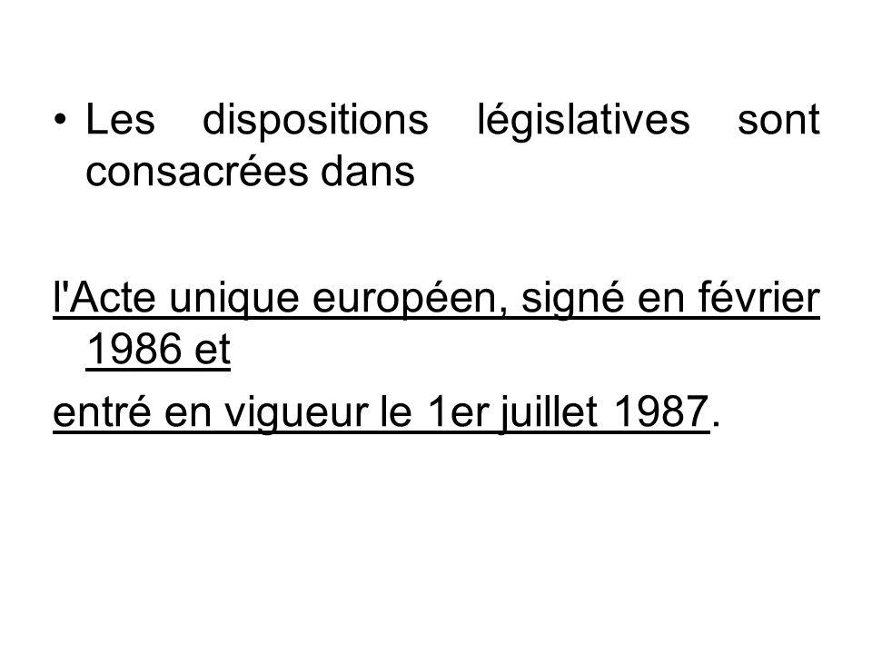 Les dispositions législatives sont consacrées dans