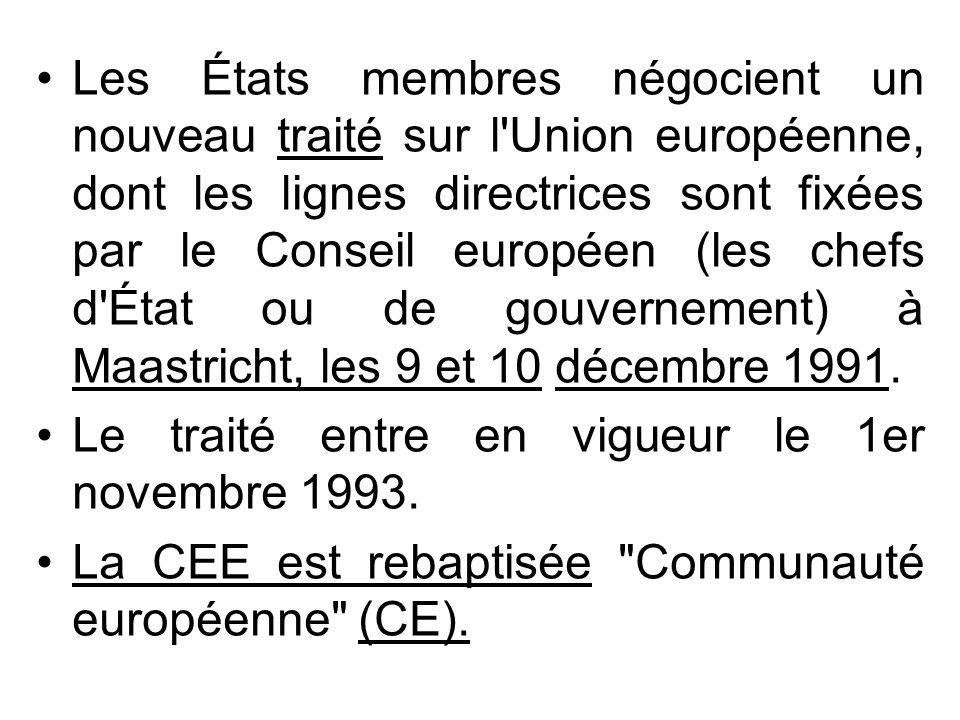 Les États membres négocient un nouveau traité sur l Union européenne, dont les lignes directrices sont fixées par le Conseil européen (les chefs d État ou de gouvernement) à Maastricht, les 9 et 10 décembre 1991.