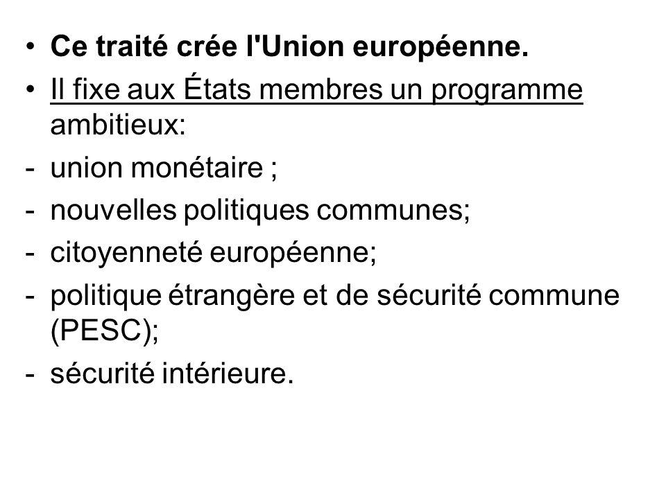 Ce traité crée l Union européenne.
