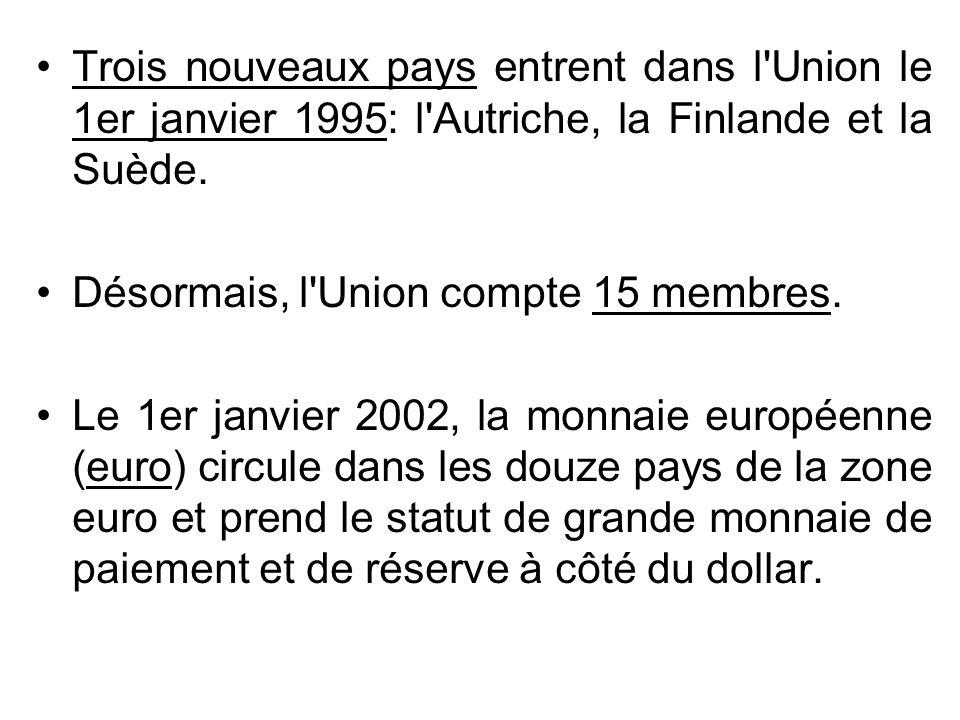 Trois nouveaux pays entrent dans l Union le 1er janvier 1995: l Autriche, la Finlande et la Suède.