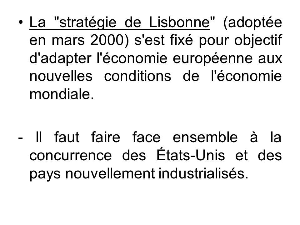 La stratégie de Lisbonne (adoptée en mars 2000) s est fixé pour objectif d adapter l économie européenne aux nouvelles conditions de l économie mondiale.