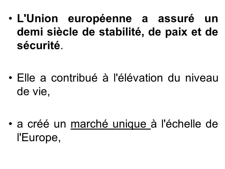 L Union européenne a assuré un demi siècle de stabilité, de paix et de sécurité.