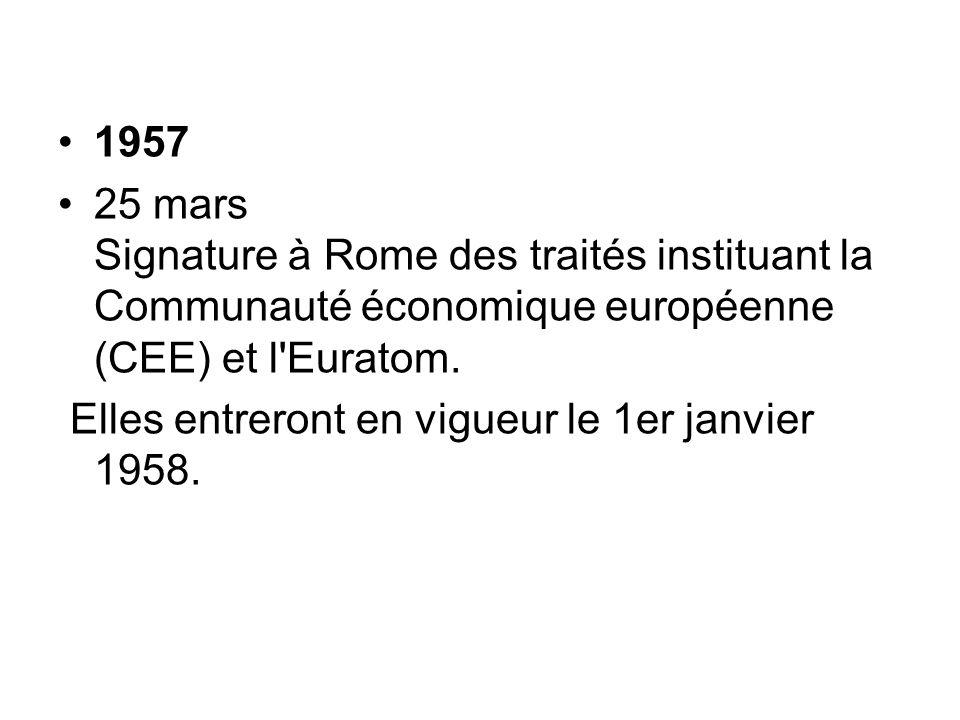 1957 25 mars Signature à Rome des traités instituant la Communauté économique européenne (CEE) et l Euratom.