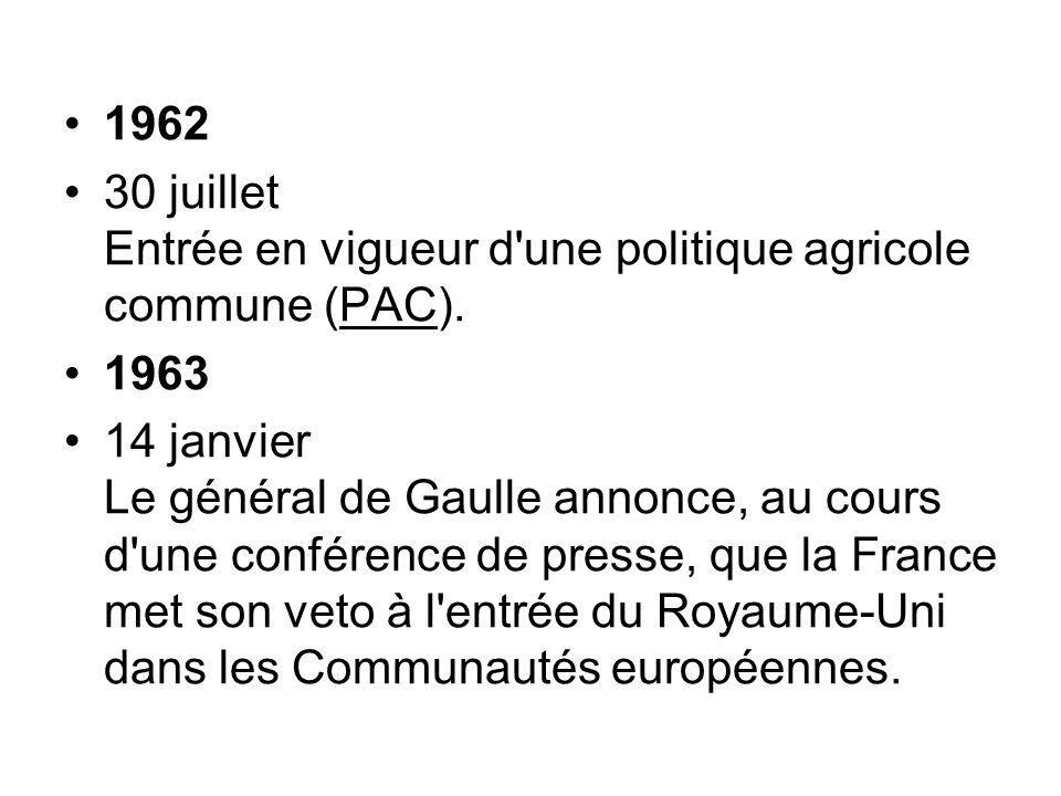 1962 30 juillet Entrée en vigueur d une politique agricole commune (PAC). 1963.