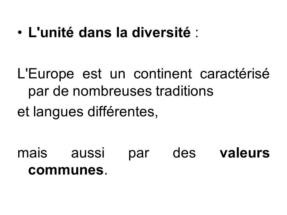 L unité dans la diversité :