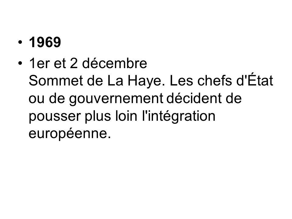 1969 1er et 2 décembre Sommet de La Haye.