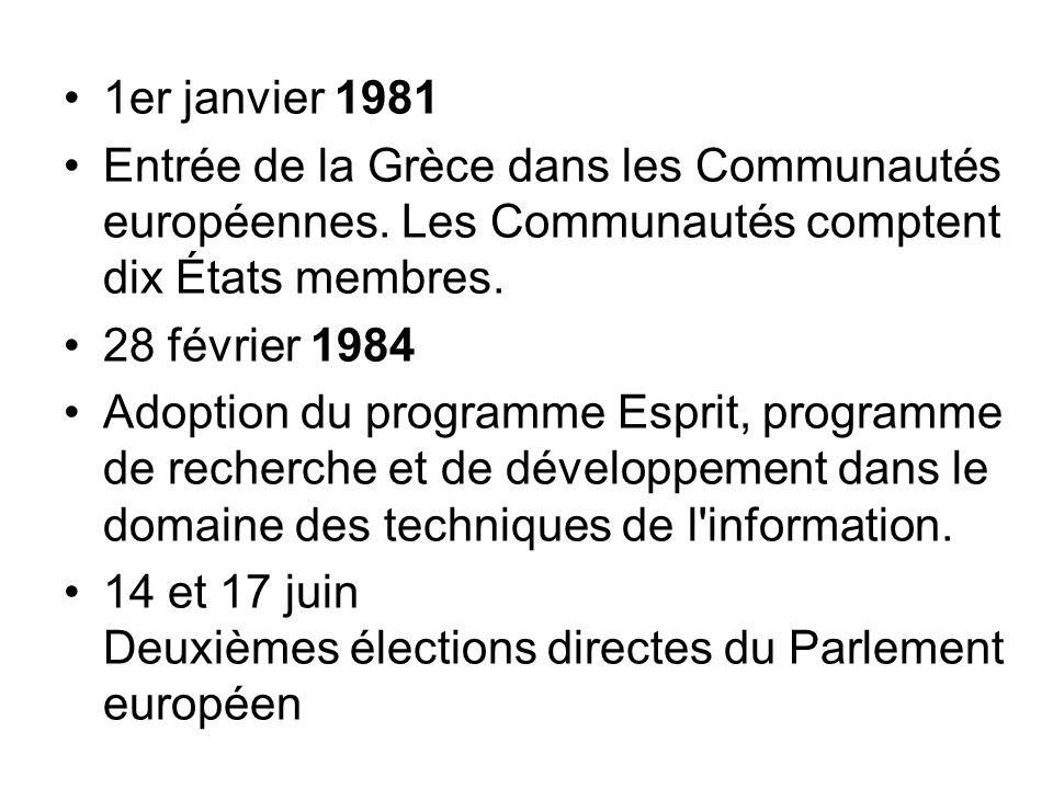 1er janvier 1981 Entrée de la Grèce dans les Communautés européennes. Les Communautés comptent dix États membres.
