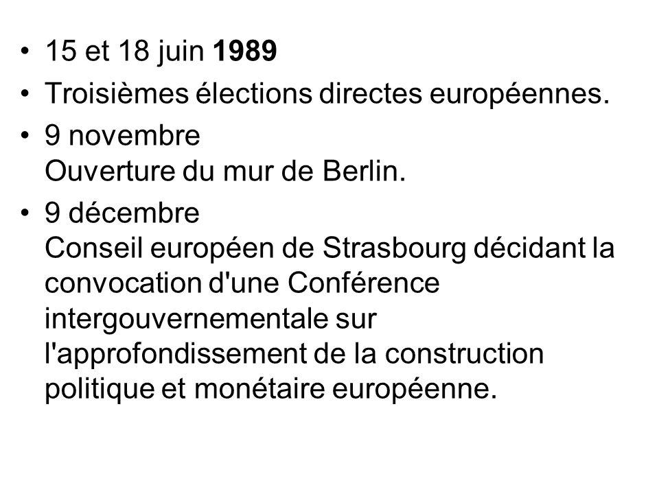 15 et 18 juin 1989 Troisièmes élections directes européennes. 9 novembre Ouverture du mur de Berlin.