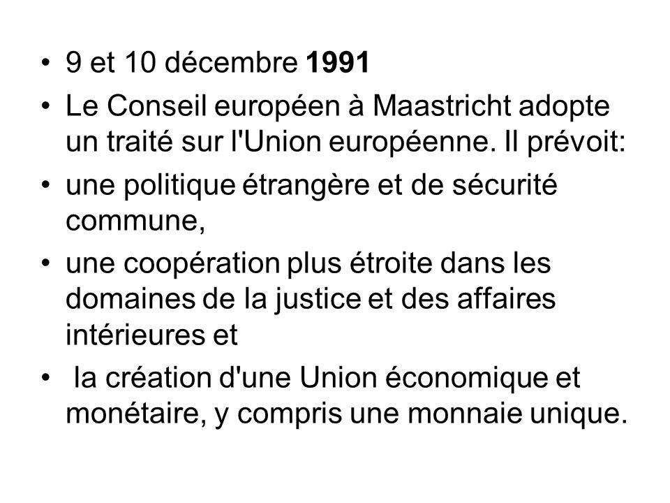 9 et 10 décembre 1991 Le Conseil européen à Maastricht adopte un traité sur l Union européenne. Il prévoit: