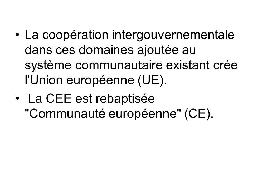La coopération intergouvernementale dans ces domaines ajoutée au système communautaire existant crée l Union européenne (UE).