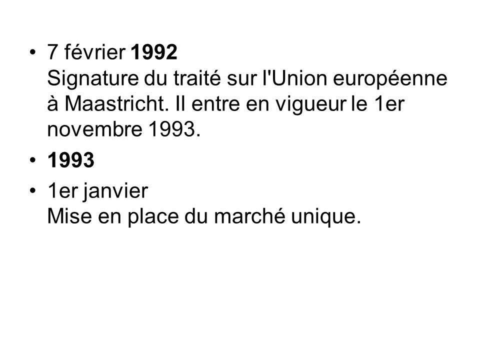 7 février 1992 Signature du traité sur l Union européenne à Maastricht
