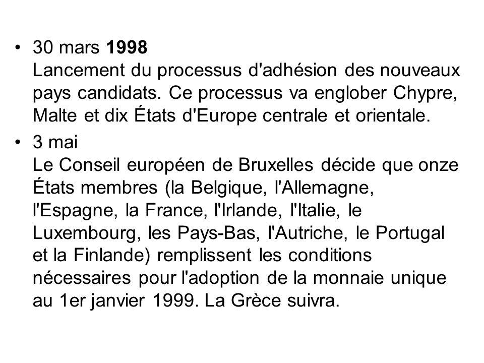 30 mars 1998 Lancement du processus d adhésion des nouveaux pays candidats. Ce processus va englober Chypre, Malte et dix États d Europe centrale et orientale.