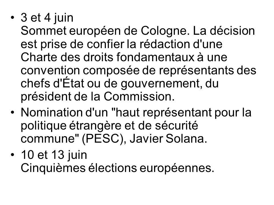 3 et 4 juin Sommet européen de Cologne