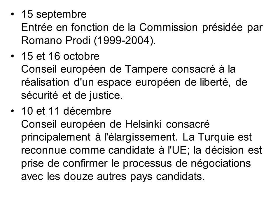 15 septembre Entrée en fonction de la Commission présidée par Romano Prodi (1999-2004).