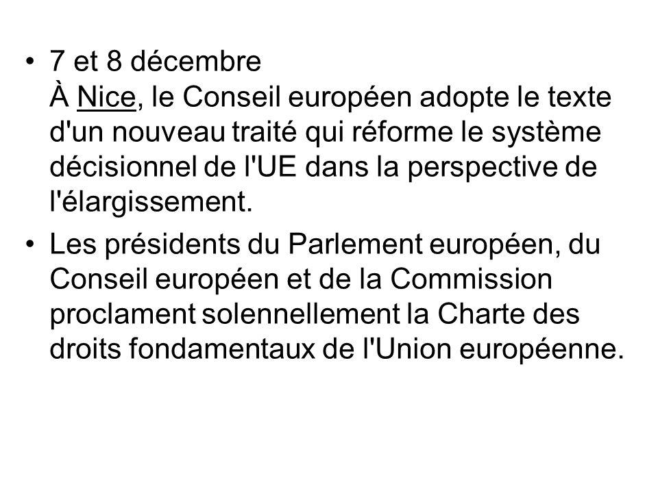 7 et 8 décembre À Nice, le Conseil européen adopte le texte d un nouveau traité qui réforme le système décisionnel de l UE dans la perspective de l élargissement.