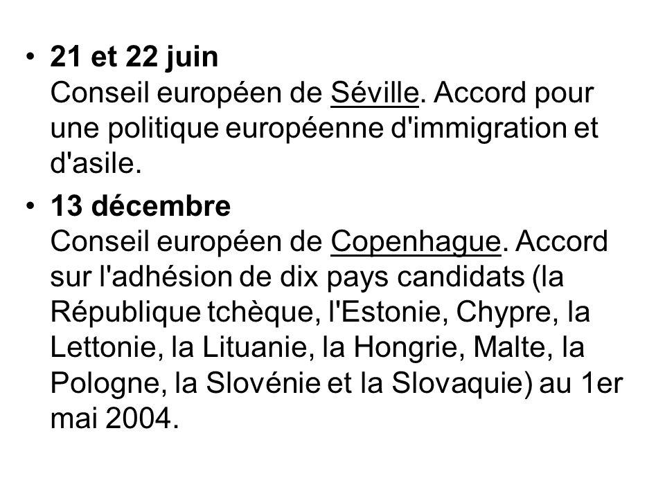 21 et 22 juin Conseil européen de Séville