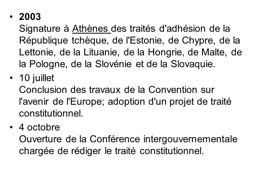 2003 Signature à Athènes des traités d adhésion de la République tchèque, de l Estonie, de Chypre, de la Lettonie, de la Lituanie, de la Hongrie, de Malte, de la Pologne, de la Slovénie et de la Slovaquie.