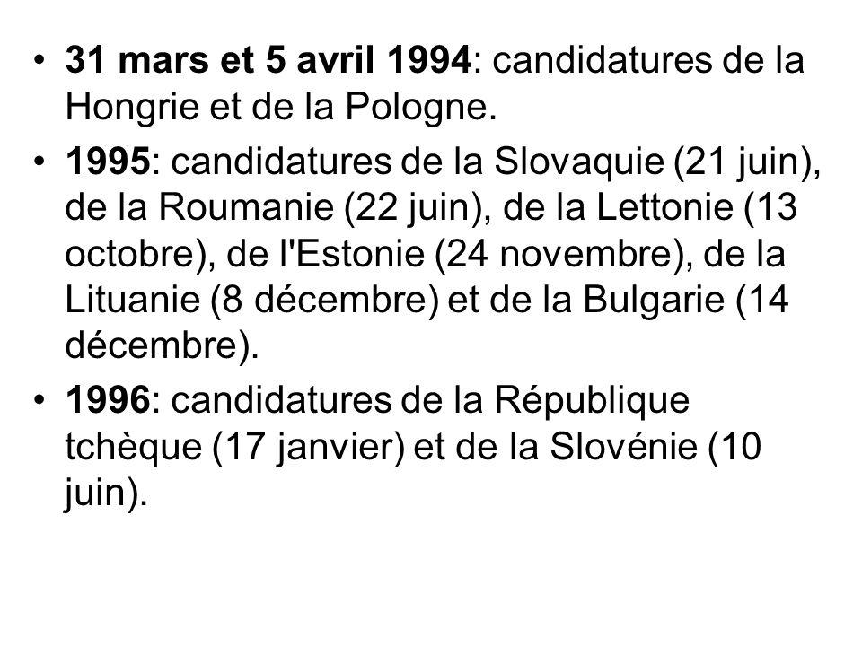 31 mars et 5 avril 1994: candidatures de la Hongrie et de la Pologne.