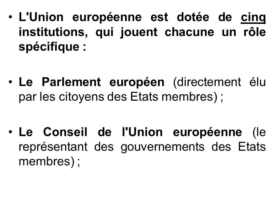 L Union européenne est dotée de cinq institutions, qui jouent chacune un rôle spécifique :
