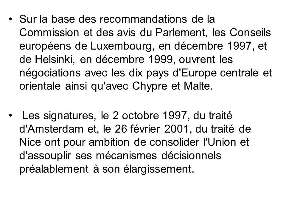 Sur la base des recommandations de la Commission et des avis du Parlement, les Conseils européens de Luxembourg, en décembre 1997, et de Helsinki, en décembre 1999, ouvrent les négociations avec les dix pays d Europe centrale et orientale ainsi qu avec Chypre et Malte.