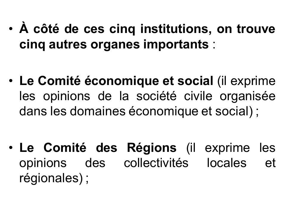 À côté de ces cinq institutions, on trouve cinq autres organes importants :