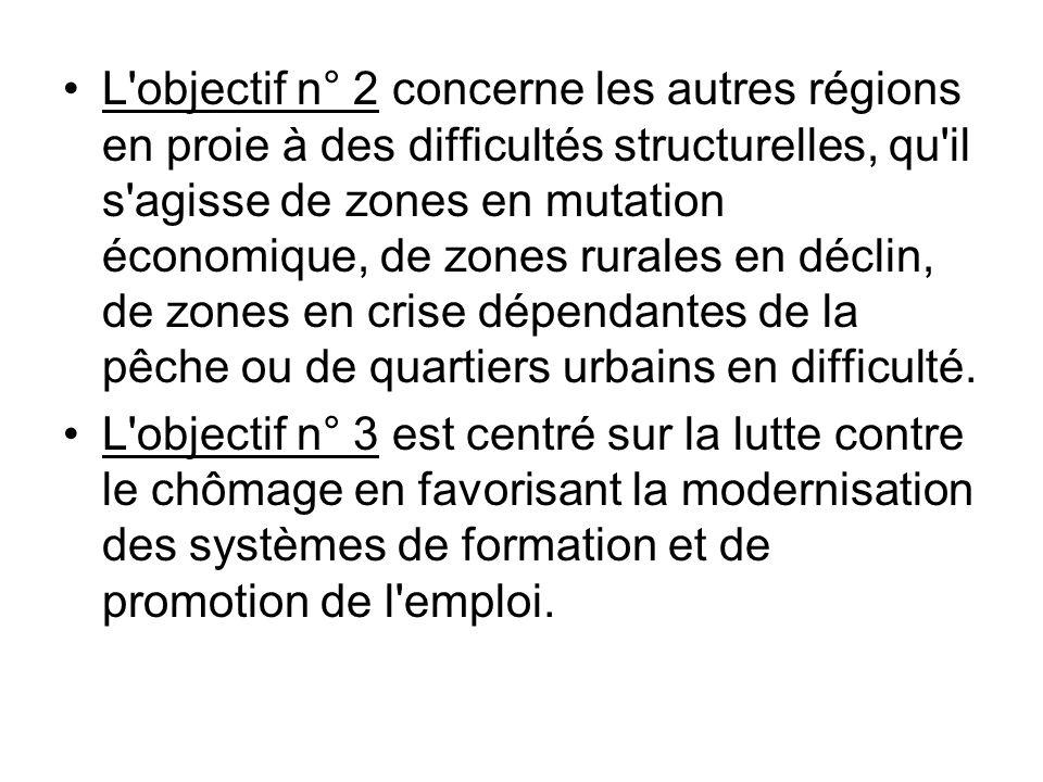 L objectif n° 2 concerne les autres régions en proie à des difficultés structurelles, qu il s agisse de zones en mutation économique, de zones rurales en déclin, de zones en crise dépendantes de la pêche ou de quartiers urbains en difficulté.